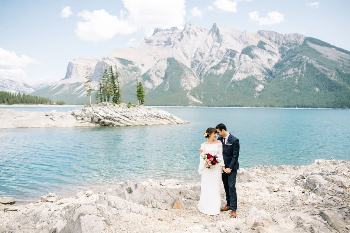 Banff wedding Lake Minnewanka elopement in the mountains