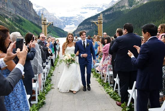 Banff wedding Lake Minnewanka elopement in the mountains