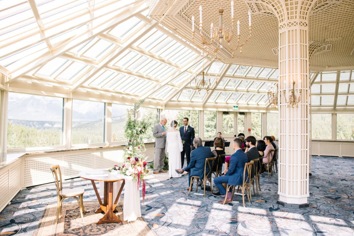 Banff Springs Fairmont mountain wedding elopement intimate summer Conservatory